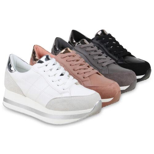 Damen Plateau Sneaker Turnschuhe Metallic Freizeit Plateauschuhe 824923 Schuhe