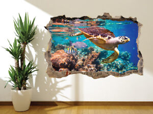 Awesome-underwater-closeup-turtle-and-fish-reef-wall-sticker-36148807