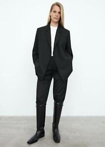 $700 Totême NEW Black Loreo Suit Jacket S Double Breasted Sharp Blazer Toteme