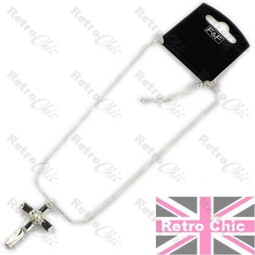 Perla De Cristal Cruz colgante//pendientes//Collar set option Cadena de Plata Plateado