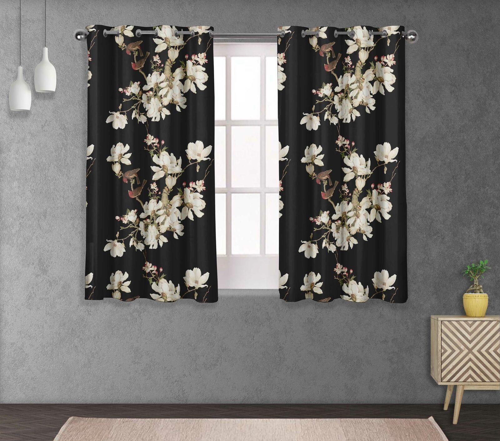 S4sassy Bird & Magnolia Home Decor short & long Curtain Eyelet Panel-FL-121E
