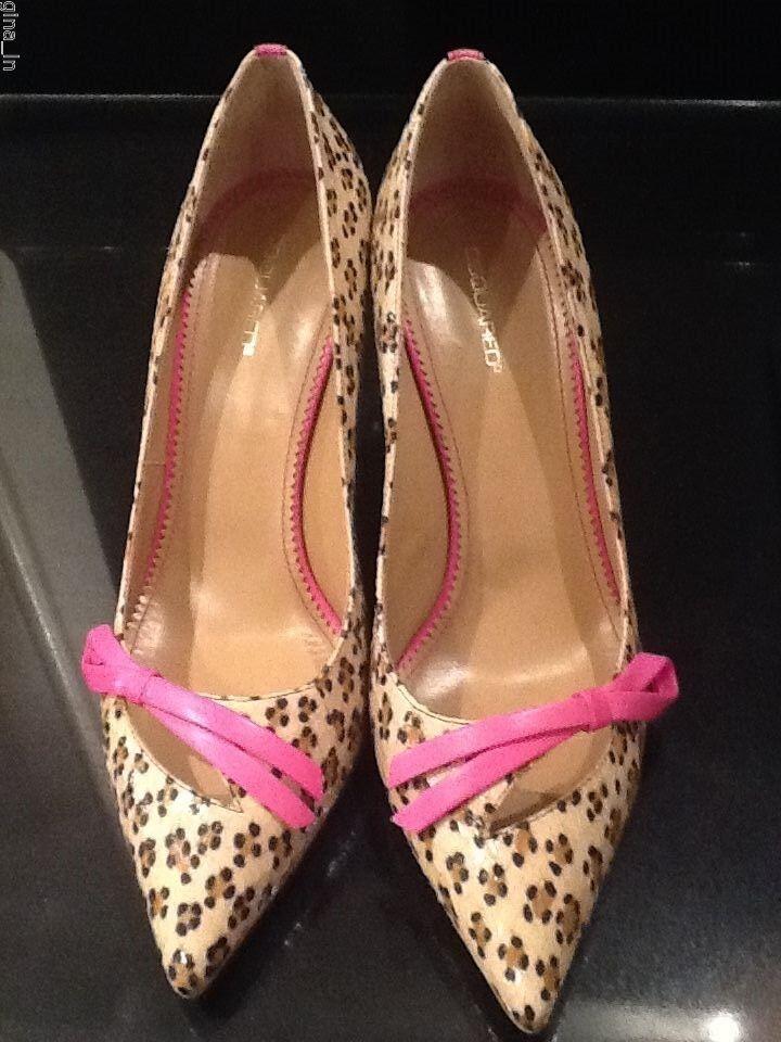 Entièrement neuf dans sa boîte DSQUArouge 2 Ayers Imprimé Léopard Noeud Rose En Cuir Talons Hauts Chaussures UK7 US10 EU40