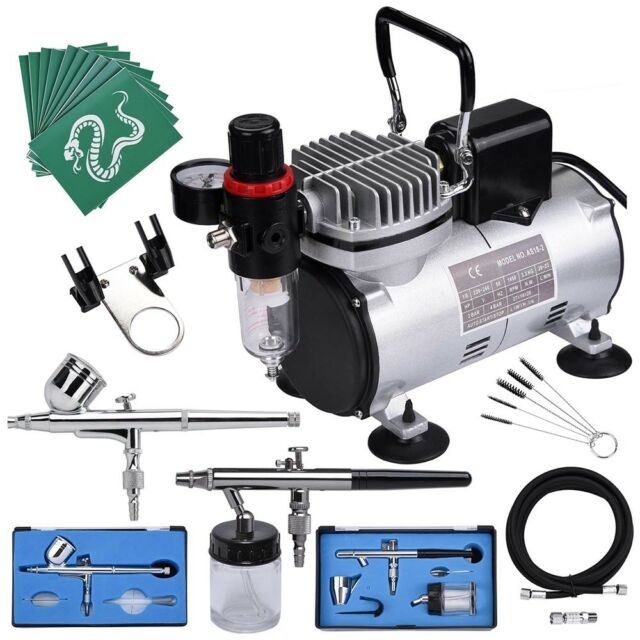 Double Action Airbrush Kit Compressor With Tank AF186 Paint Nail Tatoo Hose