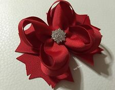 Handmade Solid Red Christmas Boutique Stacked Hair Bows