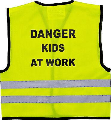 Affidabile Bambini Gilet Alta Visibilità Hi Vis Gilet Pericolo Bambini Al Lavoro Di Stampa Sul Retro-