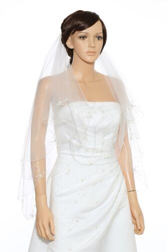 2 Layer Bridal White Ivory Fingertip Floral Scalloped Beaded Edge Wedding Veil