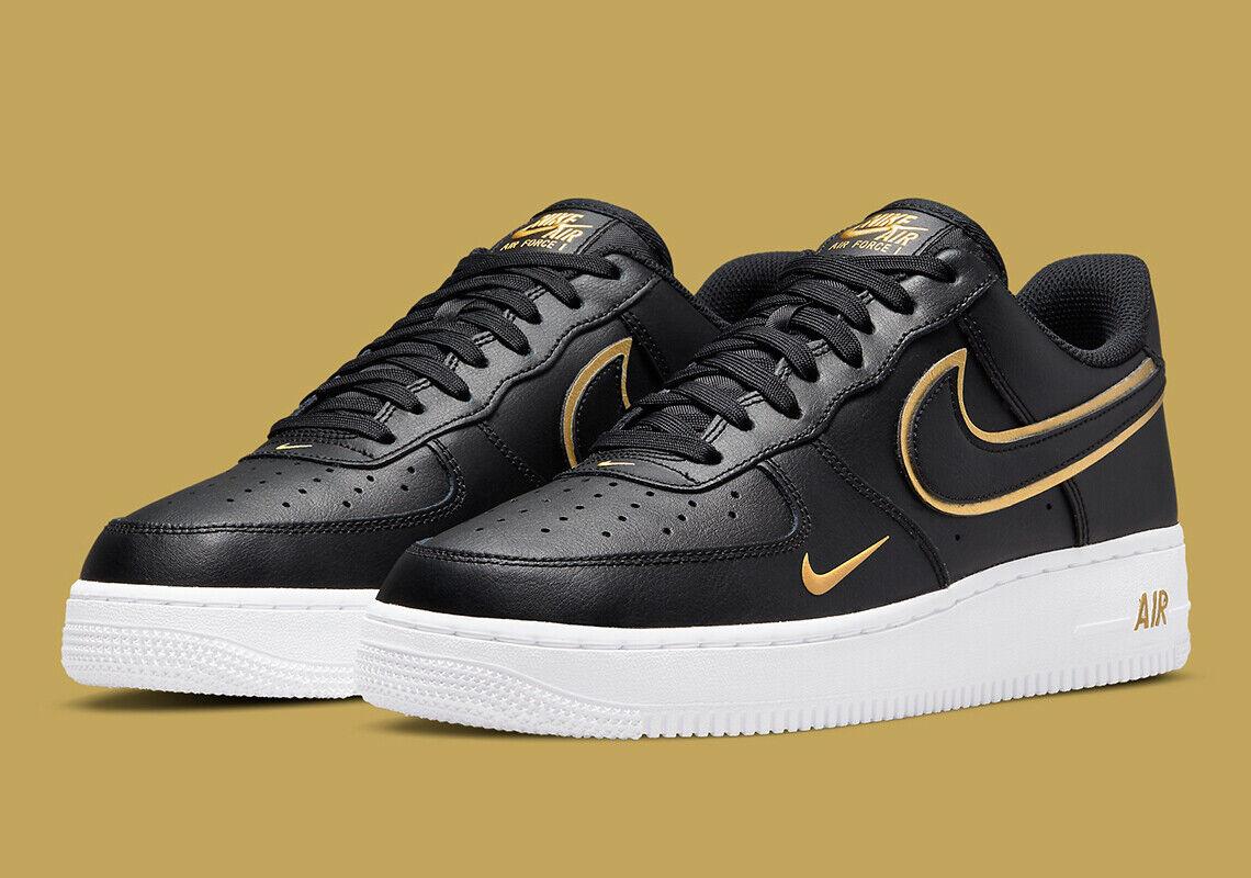 Image 2 - Nike Air Force 1 '07 LV8 Shoes Black Gold White DA8481-001 Men's Multi Size NEW