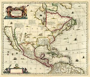 Map Of America Ebay.Details About North America 1636 Vintage Style Decorative Early Exploration Map 24x28