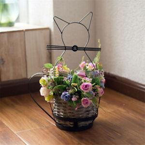 Cute-Cat-Plants-Holder-Flower-Pot-Woven-Basket-Potting-Metal-Art-Home-Room-Decor