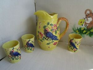 Amazing-VTG-Yellow-Pitcher-Glasses-Set-4-Majolica-Style-Pottery-Birds-Japan