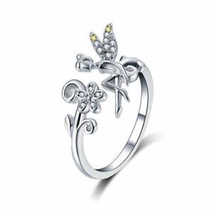 925-Sterlingsilber-Offen-Ring-Verstellbare-Groesse-Fairy-Daisy-Blume-Damen-Quarz