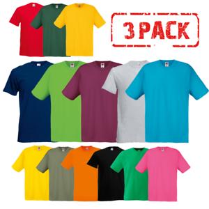 new style fd616 98cac Dettagli su 3 x Fruit Of The Loom UOMO T-Shirt Cotone Tinta Unita Taglie  Confezione Ingrosso