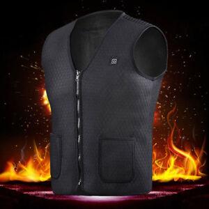 Electric Heated Heating Vest Winter Warm Up Jacket Unisex USB Pocket Tops Coats
