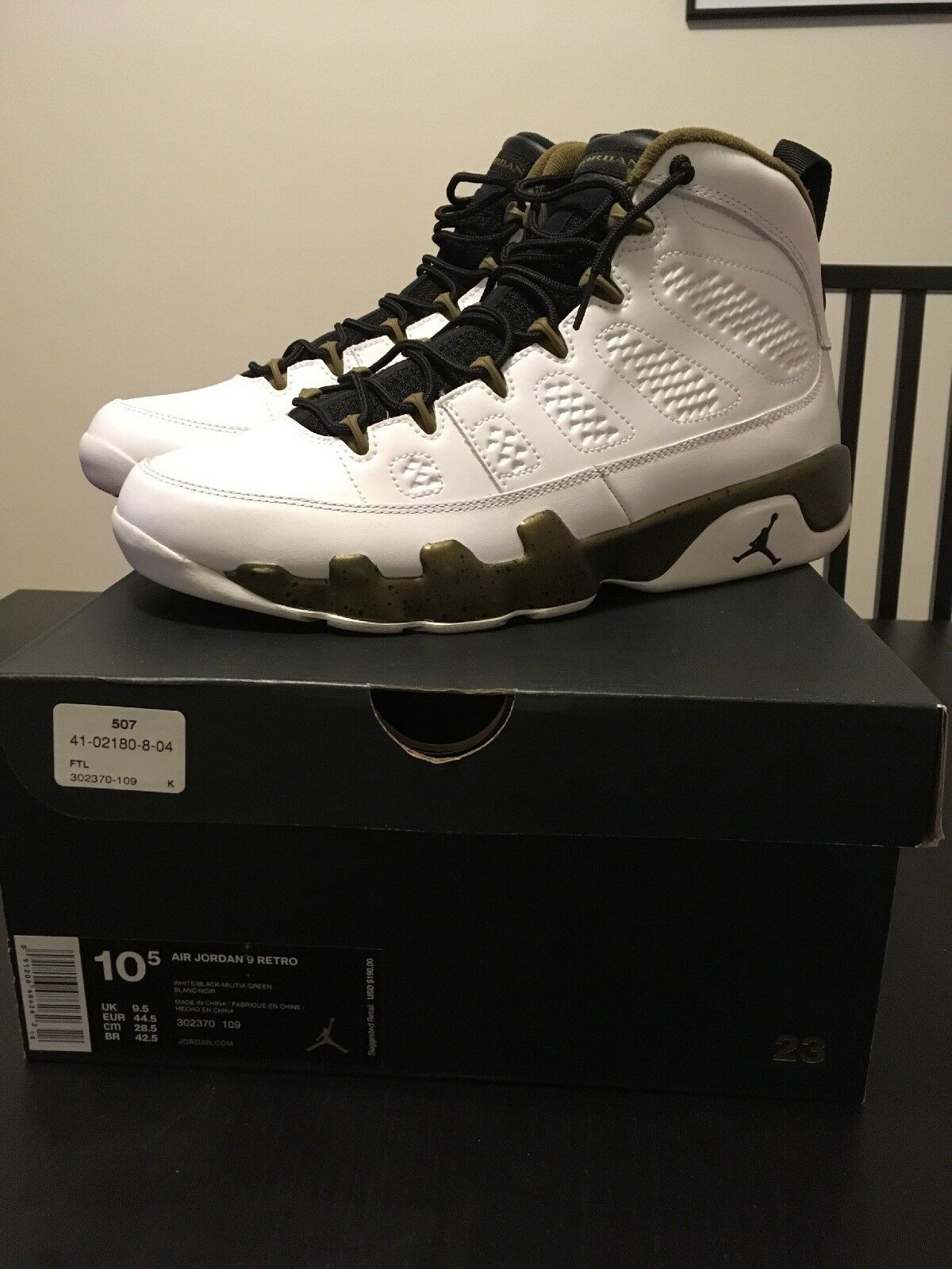 Jordan Retro 9 White/Black/Militia Green  Cheap and fashionable