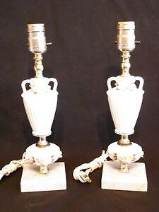 Table-Lamp-13-034-White-Ceramic-Floral-Japan-Pair-Shabby-Chic-Vintage