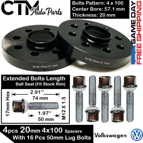 12x1.5 50MM BALL BOLT FIT VW 4PC 20MM THICK 4X100 57.1MM BORE WHEEL SPACER