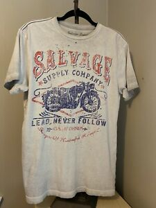 Salvage-Supply-Company-Mens-Sz-M-Graphic-T-Shirt-Gray-Motorcycle-Vintage-Look