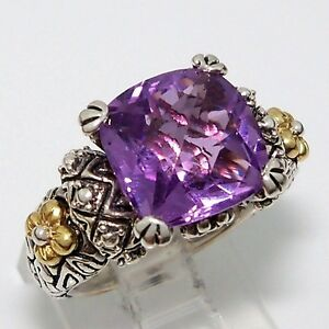 Purple Amethyst Ring K Yellow Gold