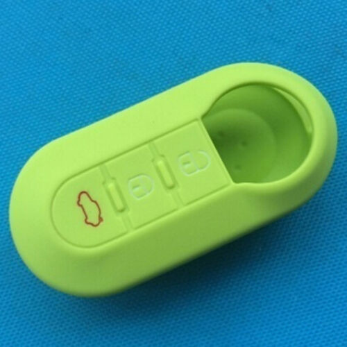 Silicone car key cover case for fiat 500 3 buttons flip remote key case