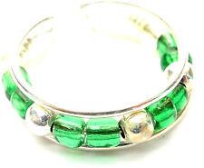 Bague de Pied Orteil Bijoux Argenté Métal Anneau Réglable perles vert