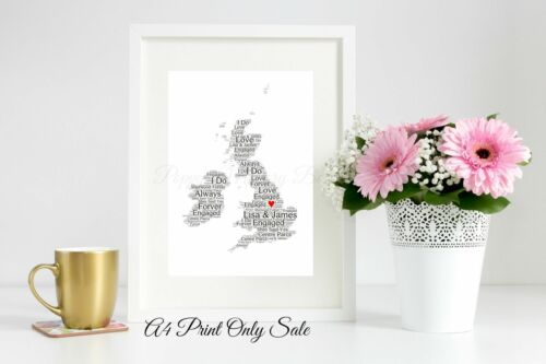 Royaume-Uni Grande-Bretagne Personnalisé Fiançailles Mariage Carte Word Art Cadeau Souvenir