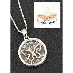 Details About Equilibrium Floating Crystals Butterfly Friends Forever Necklace Gift Box