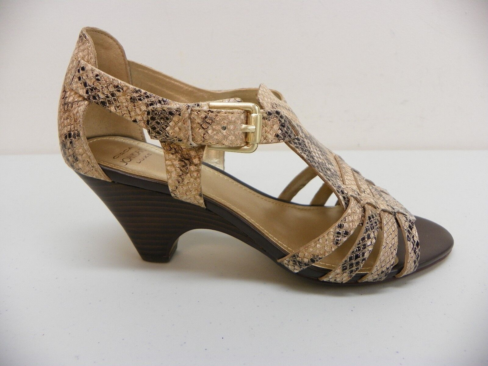 Circa Joan David chaussures Nizzie Open Toe Heel Sandals Snake Print Leather 6.5M  89