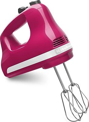 New KitchenAid Digital hand mixer 9 Speed KHM926QCB W/Whisk/Hook/Rod Cranberry