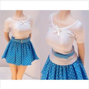 "1//6 Female Tight Camisole/&White Dress/&Stocking Clothes Set F 12/"" Seamless Body"