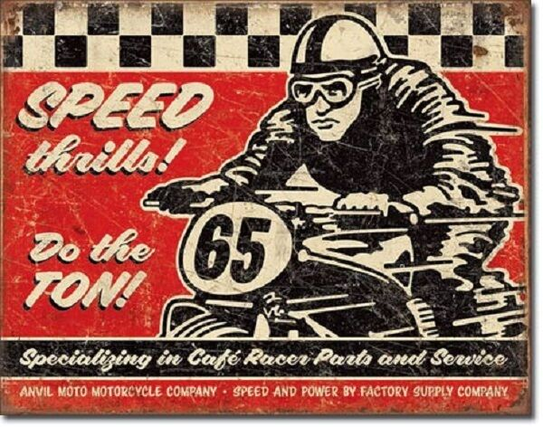 Speed Thrills TIN SIGN metal poster vtg motorcycle racing ad garage decor 2034-A