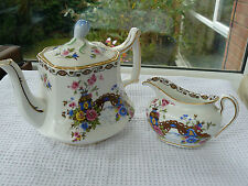 Royal Stafford Lawleys oriental floral/bridge square teapot bud finial lid & jug