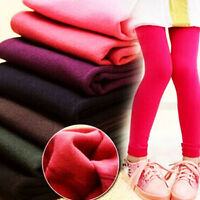 Kids Girls Winter Warm Thick Fleece Leggings Pants Cotton Plain Solid Trouser