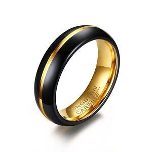 Wolfram Tungsten Carbid Ring Schwarz Gold Freundschaft Verlobung