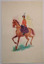 Wade signed original midcentury modern watercolor portrait Queen Elizabeth II