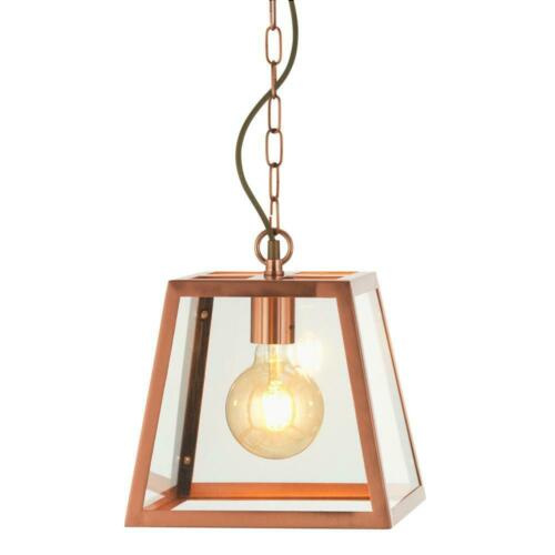 Riga Copper Square Lantern Ceiling Light Pendant Fitting Metal Glass 29cm