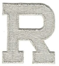"1 7/8"" Bright Metallic Silver Monogram Block letter R Embroidery Patch"