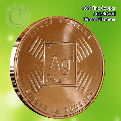 """Coins & Paper Money Bullion 100% Quality """"silver & Shells"""" 1 Oz .999 Copper Round Part Of The Safety In Numbers Series Products Hot Sale"""