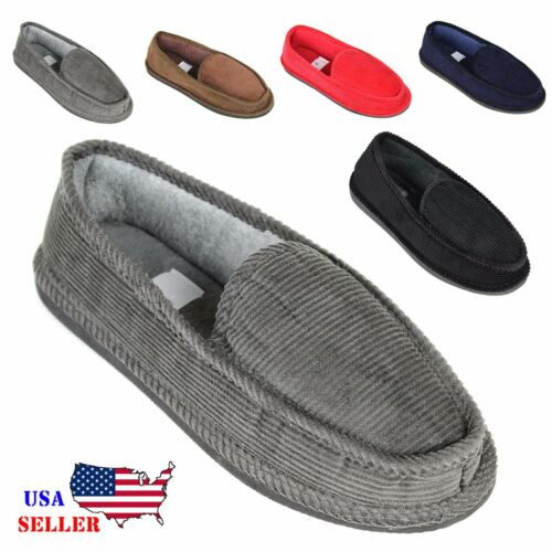 mens house slippers corduroy moccasin slip on men shoes male size