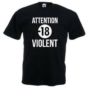 Tshirt-noir-enfant-junior-manchescourtes-Fruit-Of-The-Loom-ATTENTION-18-VIOLENT