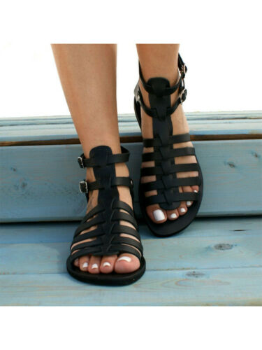 1Pair Women Casual Roman Woven Flat Sandals Buckle Casual Ankle Boots Shoes US