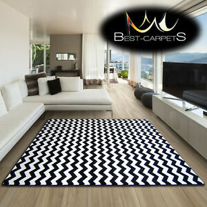 AMAZING-THICK-MODERN-RUGS-SKETCH-WHITE-BLACK-F561-ZIG-ZAG-LARGE-SIZE-BESTCARPETS