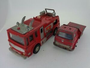 2x-Vintage-Dinky-Toys-Bedford-truck-amp-Merryweather-fire-tender-with-Defects