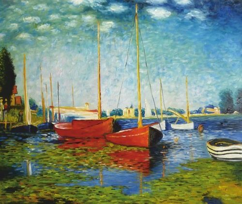 Red Boats-Wedge Frame Picture On Canvas Monet