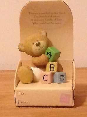 BABY BOY #1 FIGURINE WITH CUTE SENTIMENT makes great cake//gift topper