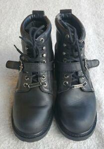 Harley-Davidson-Biker-Ankle-Boots-Womens-Size-10-Black-Leather-81024