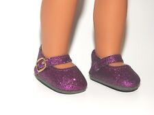 Black Color Glitter Mary Jane Shoes Fit American Girl Wellie Wishers Dolls H4H