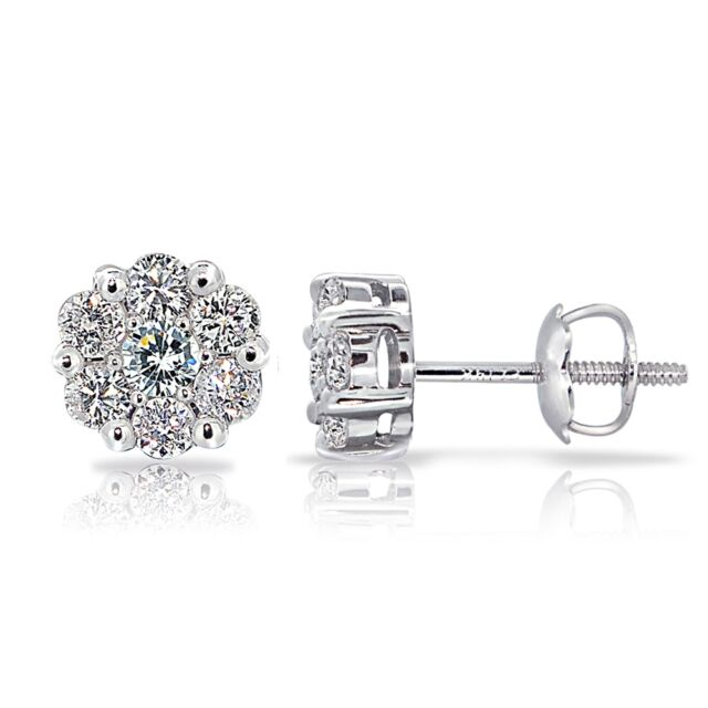 14K Gold 0.50ct TDW Diamond Cluster Stud Earrings (G-H, I2)