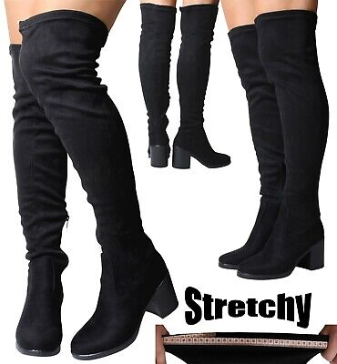 Womans Black Chunky Heel Suede Stretch