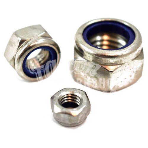 Confezione da 50 x M8 A2 ACCIAIO INOX FISSAGGIO nylon dadi di bloccaggio filettatura metrica *