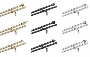 120-230 cm 16//19 mm /Ø Edelstahl Andrax 2 l/äufig Dekobase Ausziehbare 2 lauf Gardinenstange Stilgarnitur komplett Set zum sofortigen Montieren